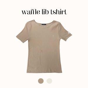 R刺繍ワッフルリブTシャツ