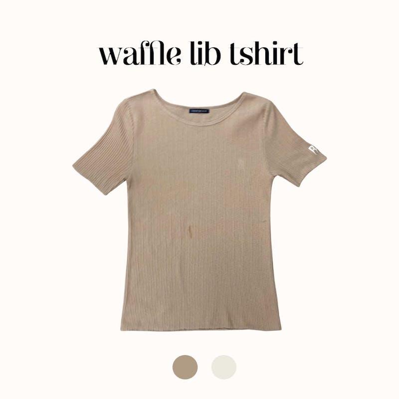 R刺繍ワッフルリブTシャツの画像1枚目