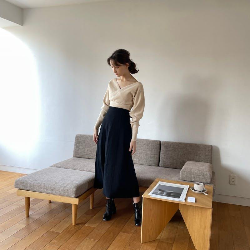 リネンライクIラインスカートの画像2枚目