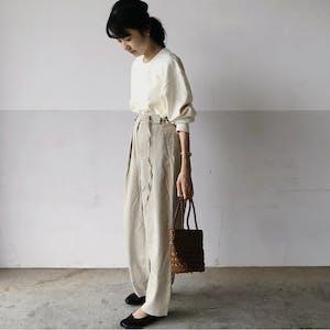 beige tuck pants (belt set)