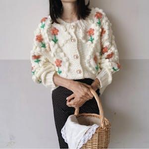 flower embroydery knit cardigan